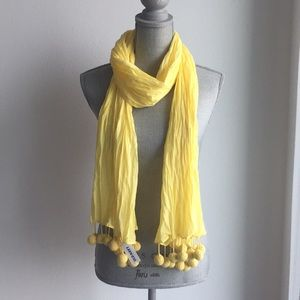 Old Navy yellow pompom scarf